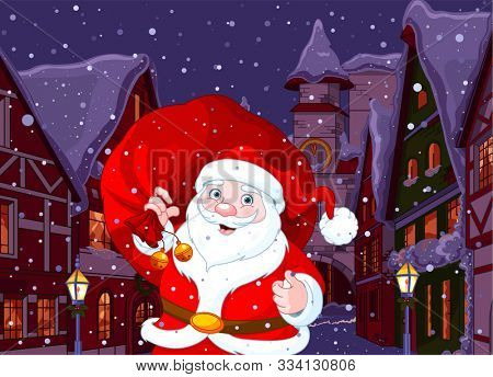 Santa in Christmas Town at night