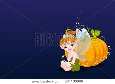 Illustration of cute fairy sitting near the pumpkin