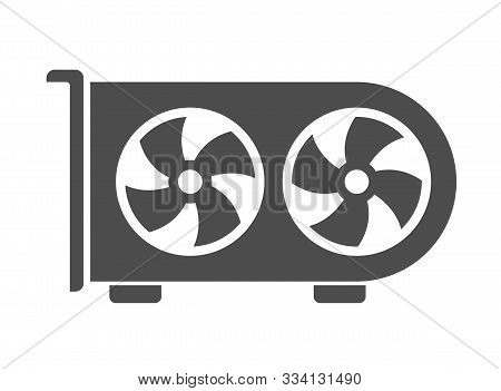 Air Conditioning System Silhouette Vector Icon Isolated On White Background. Air Conditioner With Fa