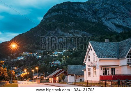 Eidfjord, Hardangerfjord, Norway. Old Wooden Hotel House In Norwegian Countryside In Summer Night.