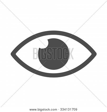 Observation Eye Silhouette Vector Icon Isolated On White Background. Observation Eye Flat Icon For W