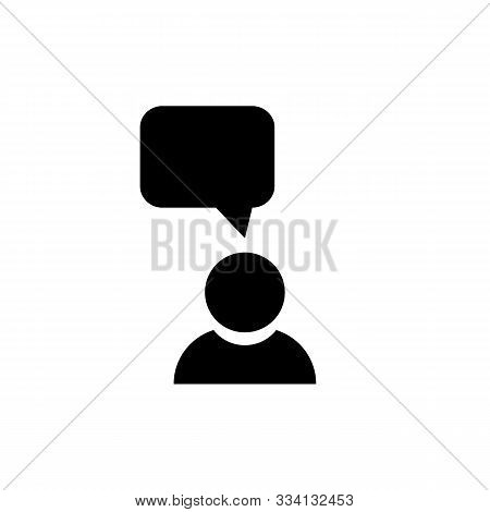 Monolog Icon In Black. Symbol Of Man With Monologue Bubble. Vector Eps 10