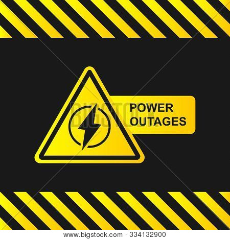 Power Outage Icon On A Black Background With Stripes Of Attention. Yellow-black Banner. Vector Illus
