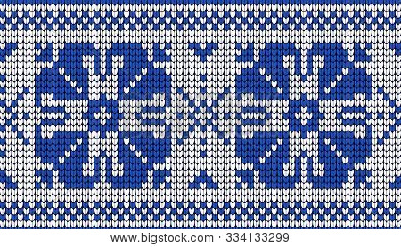 Knitted Ornament. Sweater Seamless Pattern Needlework Scheme. Knitted Blue And White Pattern. Scandi