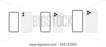 New Smartphone Model 2019 Blank Screen Set. Smartphone Model 11, 11 Pro, 11 Pro Max In Silver Color