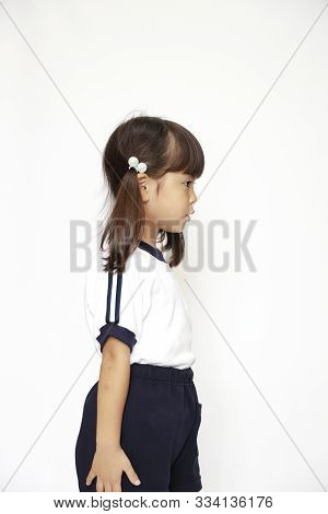 Japanese Girl In Sportswear (profile) (4 Years Old) (white Back)