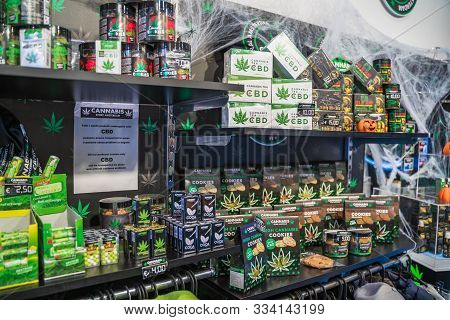 Rome, Italy - October 2019 : Cannabis Shop Or Store In Center Of Rome For Selling Legal Marijuana Pr