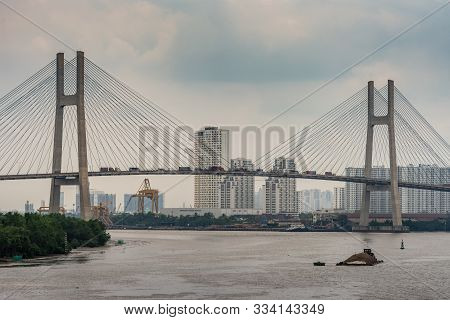 Ho Chi Minh City Vietnam - March 12, 2019: Looking South: 2 Pylons And Span Of Cau Phu My Suspension