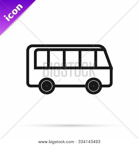 Black Line Bus Icon Isolated On White Background. Transportation Concept. Bus Tour Transport Sign. T