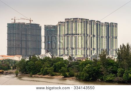 Ho Chi Minh City Vietnam - March 12, 2019: Song Sai Gon River. Development And Construction Of Tall