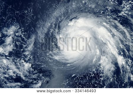 Typhoon From Space, Natural Disaster. Elements Of This Image Were Furnished By Nasa.