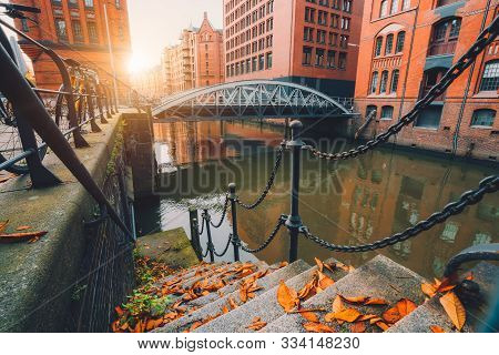 Speicherstadt Warehouse District In Hamburg, Germany. Old Brick Buildings And Channel Of Hafencity Q