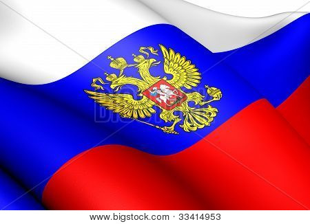 Flag of Russia Close Up Front View. poster
