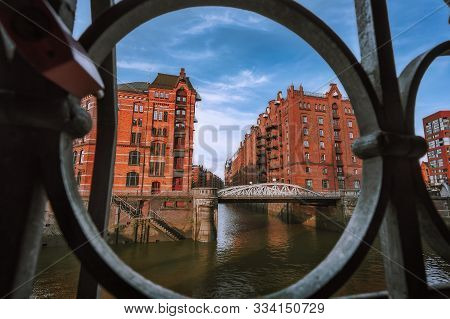 Speicherstadt Warehouse District In Hamburg, Germany, Europe. Old Brick Buildings And Channel Of Haf