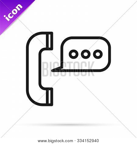 Black Line Telephone With Speech Bubble Chat Icon Isolated On White Background. Support Customer Ser