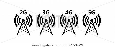 Network Coverage Level Symbol 2. Network Level On Mobile Devices. Network 2g (e), 3g, 4g, 5g Icon Is