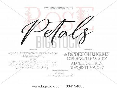 Hand Drawn Calligraphic Vector Duo Font. Distress Grunge Texture. Modern Script Calligraphy Type. Ab