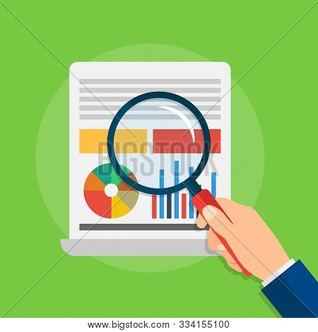 Analytics And Data Analysis With Graphs And Charts. Hand Holding Magnifying Glass. Vector Illustrati