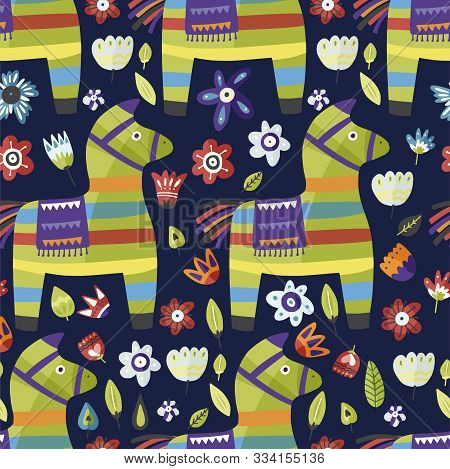 Traditional Mexican Party Symbol. Pinata Vector Flat Seamless Pattern. Cinco De Mayo Celebration Par