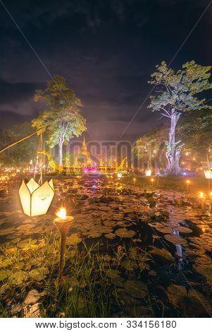 Loi Krathong Festival And Colorful Illumination Decorative At Night, Beautiful Of Illuminated Light