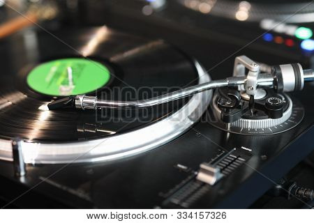 High Fidelity Stereo Turntable Playing A Vinyl Record. Selective Focus.