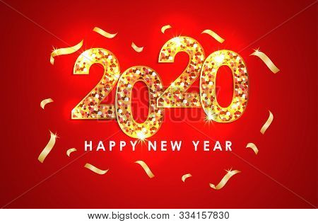 2020 Colorful Text Isolated On Red Background, Text 2020, New Year 2020, 2020 Text Gold For Calendar