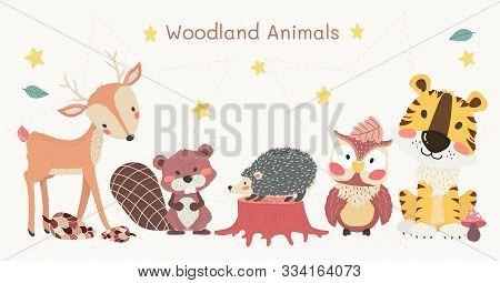 Cute Woodland Animals Clip Art Set, Tiger, Reindeer, Owl, Beaver, And Hedgehog