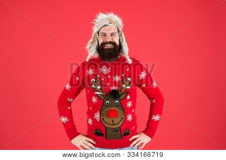 Join Holiday Party Craze And Host Ugly Christmas Sweater Party. Sweater With Deer. Hipster Bearded M