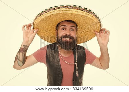 Real Macho. Bearded Macho Wearing Sombrero. Mexican Macho In South American Style. Spanish Macho Wit