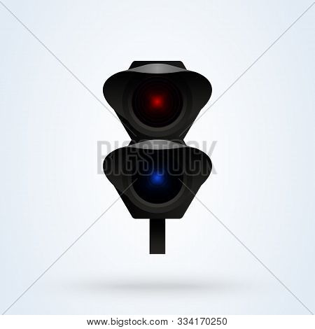 Semaphore Signal Traffic,train Lights Realistic. Vector Modern Design Illustration.
