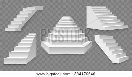Architectural White Staircases. Stairs Images Isolated On Transparent Background, Abstract Modern St