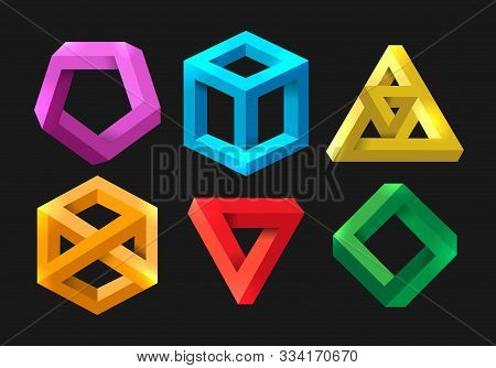 Simple 3d Impossible Shapes. Abstract Infinity Illusions Geometry, Visual Paradox Triangle And Hexag
