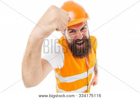 Construction power you can rely on. Construction worker flex strong arm isolated on white. Construction engineer or builder wear protective helmet and workwear. Construction industry. poster