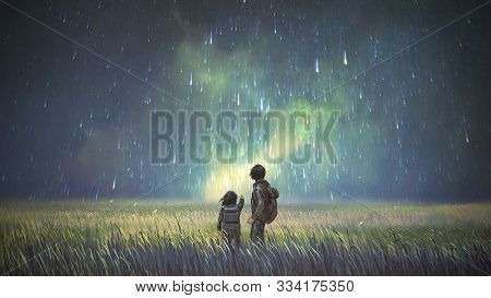 Brother And Sister In A Meadow Looking At Meteors In The Sky, Digital Art Style, Illustration Painti