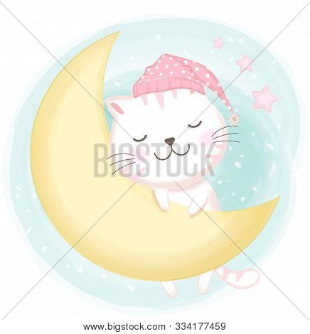 Cute Cat Asleep Hand Drawn Cartoon Illustration Background