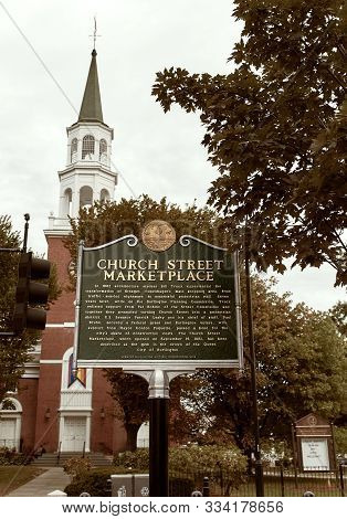 Burlington, Vermont - September 29th, 2019: Historical Marker At Church Street Marketplace And First
