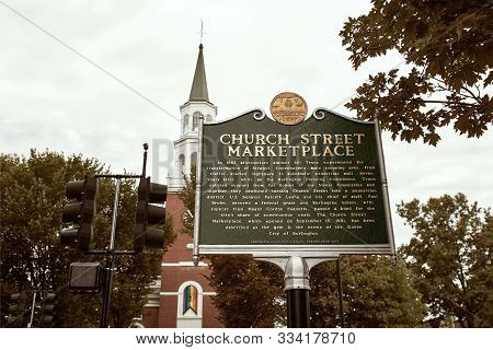 Burlington, Vermont - September 29th, 2019: Historical Marker At Entrance Of Church Street Marketpla