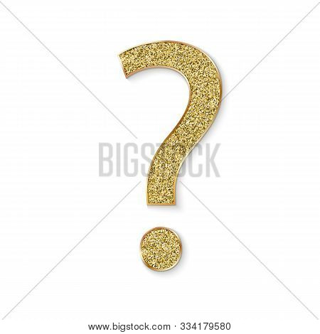 Mark Of Question With Golden Dust. Faq Button. Asking Questions. Ask For Help. Question Mark Stamp W