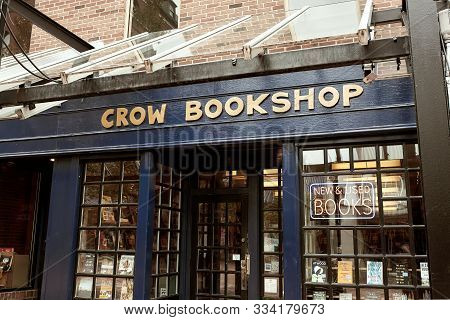Burlington, Vermont - September 29th, 2019: Local Bookstore, Crow Bookshop In Pedestrian Shopping Ma