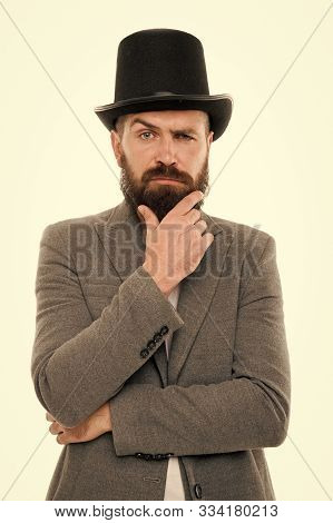 Street Performance. Man Bearded Guy Magician. Magic Trick Performance Concept. Circus Magic Trick Pe
