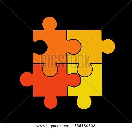 Puzzle Vector Illustration Art On Black Background