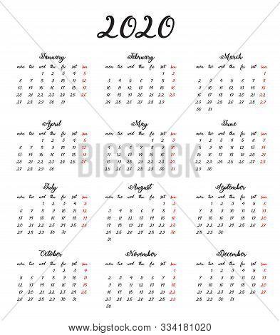 Calligraphic Calendar 2020. Handwritten Numbers. Calendar Grid.