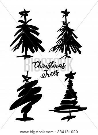 Set Of Christmas Trees On A White Background. Ink Sketch Of A Holiday Tree