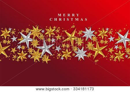 Red Christmas Background With Border Made Of Cutout Gold And Silver Foil Stars. Chic Christmas Greet