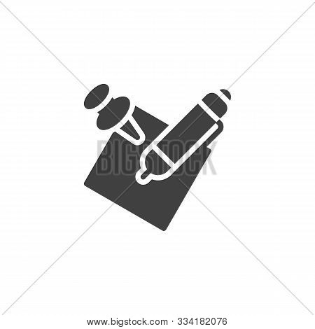 Notepaper With Pen Vector Icon. Filled Flat Sign For Mobile Concept And Web Design. Pen And Memo Pap