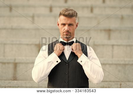 Perfect Bow Tie. Gentleman Modern Style. Guy Well Groomed Handsome Bearded Gentleman Macho Wear Shir