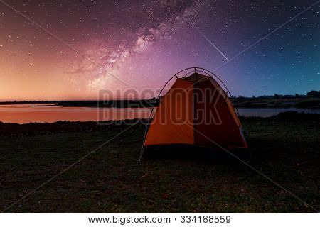 Camping In Africa Wilderness On River Zambezi, Small Tent With Starry Sky In Namibia, Africa