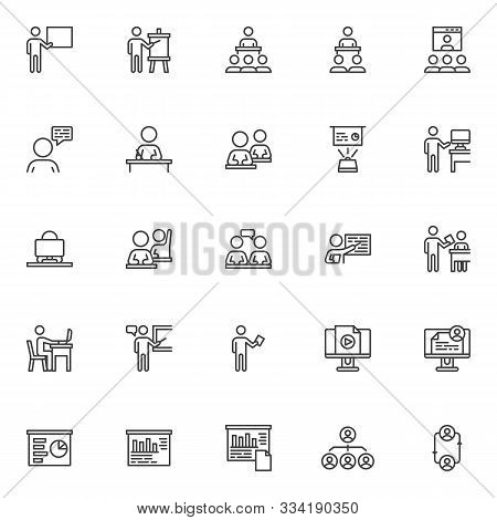 Business Training Line Icons Set. Linear Style Symbols Collection, Outline Signs Pack. Vector Graphi