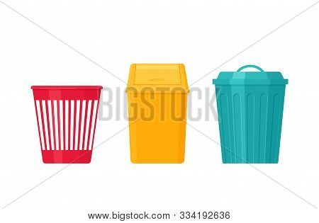 Garbage Can. Trash Bin. Vector. Plastic, Metal Dustbin Icon. Flat Design. Rubbish Pail Isolated On W