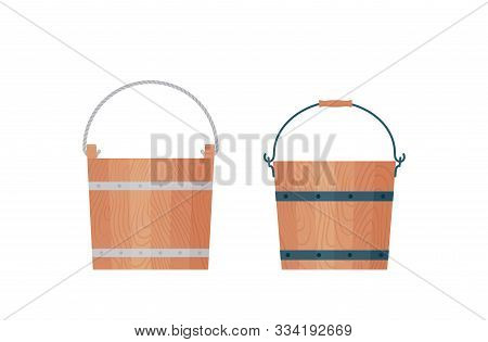 Wooden Bucket. Vector. Wood Pails With Rope And Metal Handles. Icons In Flat Design, Isolated On Whi